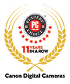 PCMag Readers' Choice Award 11 Years in a Row - Canon Digital Cameras