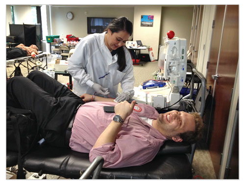 Canon employees participate in blood drives to benefit the American Red Cross