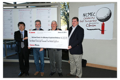 Kotaro Fukushima, senior director and GM, Corporate Communications, Canon U.S.A.; NCMEC co-founder John Walsh; NCMEC adviser John Arnos; and NCMEC President John Ryan