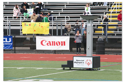 Canon sponsors athletes in the Special Olympics activities.