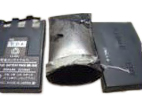 Counterfeit lithium-ion battery pack and charger ruptured