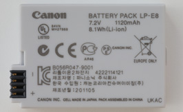 LP-E8 BATTERY BACK