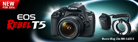 New For 2014 - EOS Rebel T5 and Macro Ring Lite MR-14 EX II