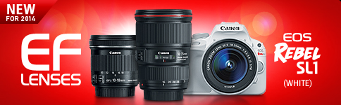 New for 2014 - EOS Rebel SL1 (White), EF 16-35mm f/4L IS USM, EF-S 10-18mm f/4.5-5.6 IS STM
