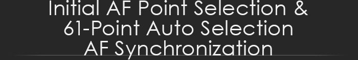 Initial AF Point Selection & 61-point Auto Selection AF Synchronization