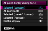 AF point during focus display