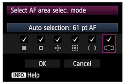 AF point selection options