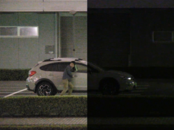 Comparison of scene viewed with the naked eye (right) and image captured by the network camera (left) (Simulated image)