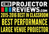 "ProjectorReviews.com 2015-2016 Best in Classroom ""Best Performance Large Venue Projector Award"""