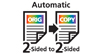 Automatic two-sided printing : Automatically prints a 2-sided copy of a 2-sided document