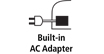 Built-in AC Adapter : Connects to a standard electical power outlet to recharge or preserve battery power.