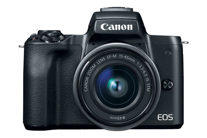 EOS M50 (Black) - Front with lens attached