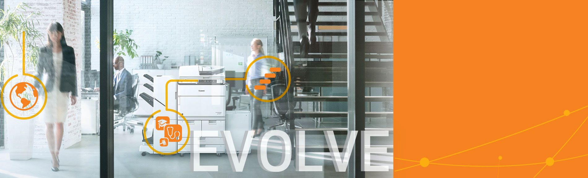 People in office with Evolve text overlay
