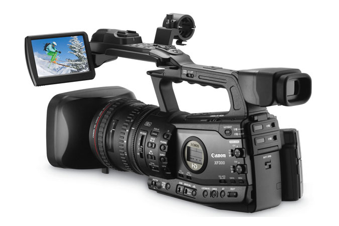 XF300 Professional Camcorder - back left view with LCD