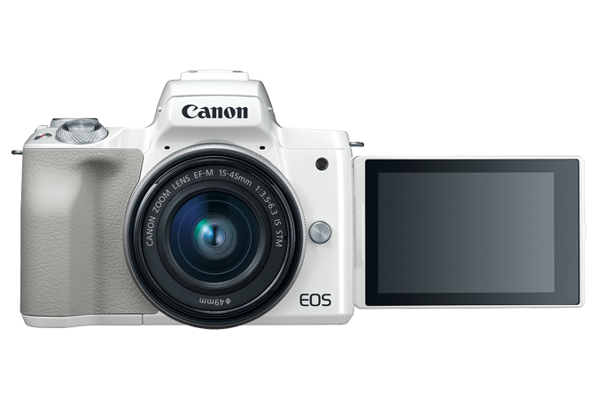 EOS M50 (White) - Front with lens attached and open LCD