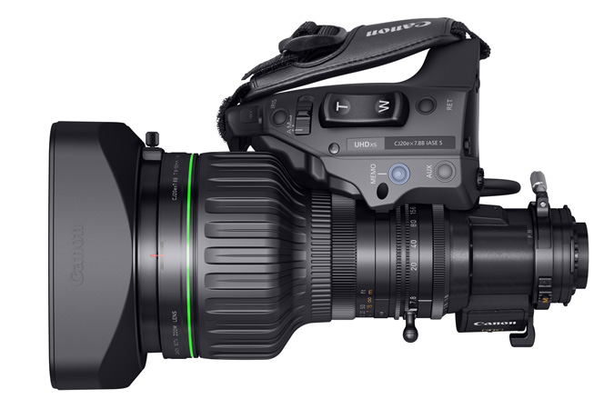 CJ20ex7.8B portable 4K Broadcast Lens - Top view