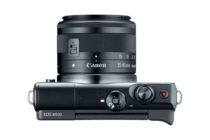 EOS M100 EF-M 15-45mm IS STM Black Lens Kit Top