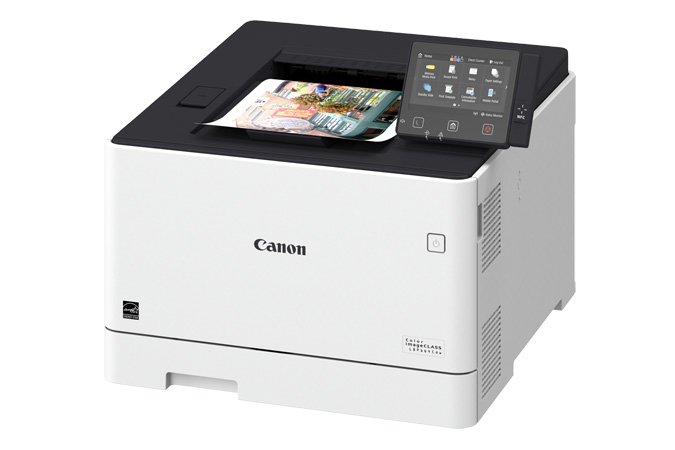 Color imageCLASS LBP664Cdw multifunction laser printer - 3/4 angle with printout