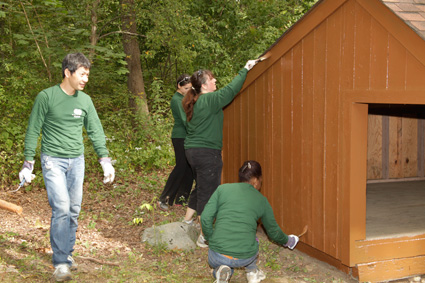 Canon employees painting lean-to