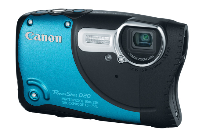 PowerShot D20 digital camera in Blue - 3/4 View