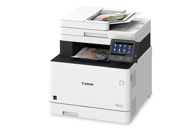 Color imageCLASS MF746Cdw multifunction laser printer - 3/4 angle view with printouts