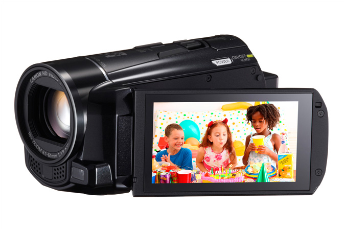 VIXIA HF M52 Flash Memory camcorder - 3/4 view with LCD open