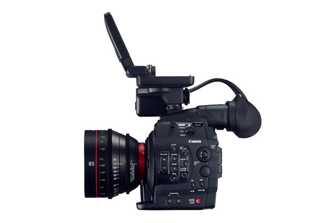 Cinema EOS C500 digital cinematography camera - right view with monitor
