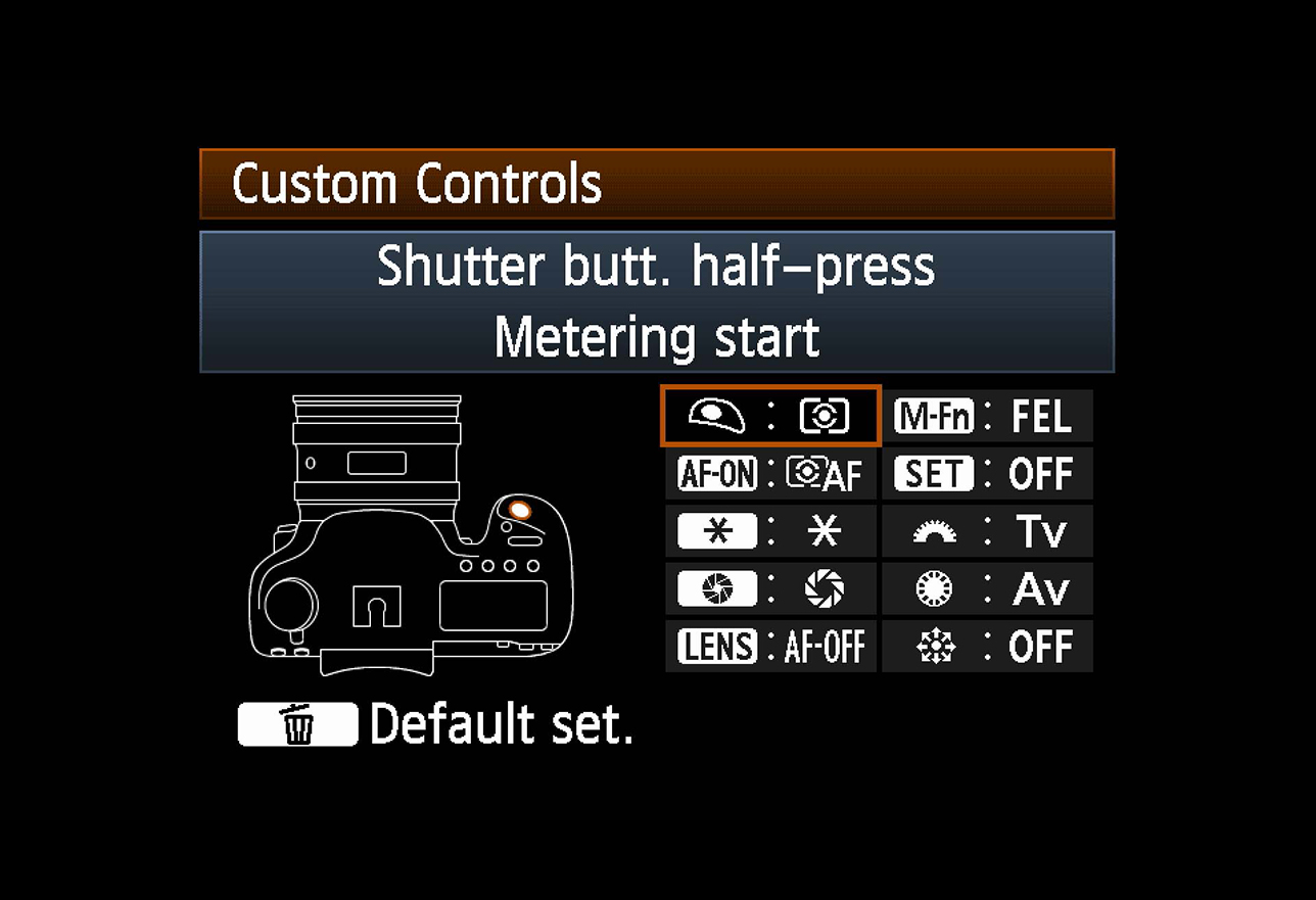 Custom controls panel camera menu