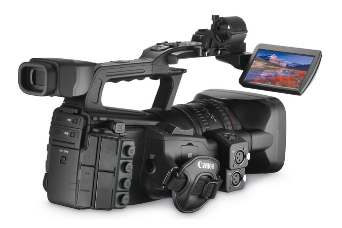 XF305 Professional Camcorder - back right view with LCD
