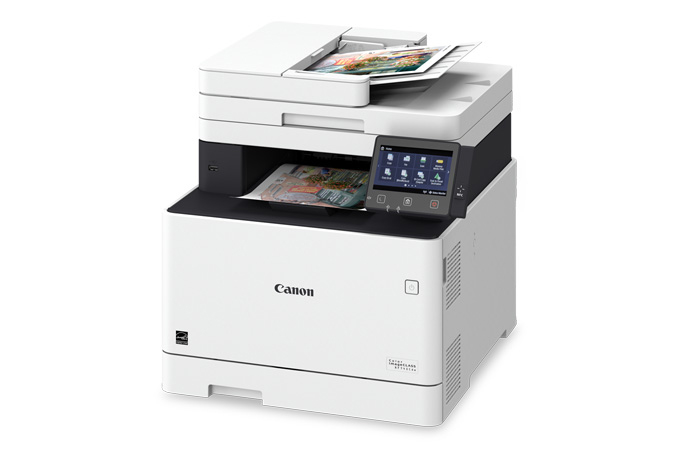Color imageCLASS MF745Cdw multifunction laser printer - 3/4 angle view with printouts