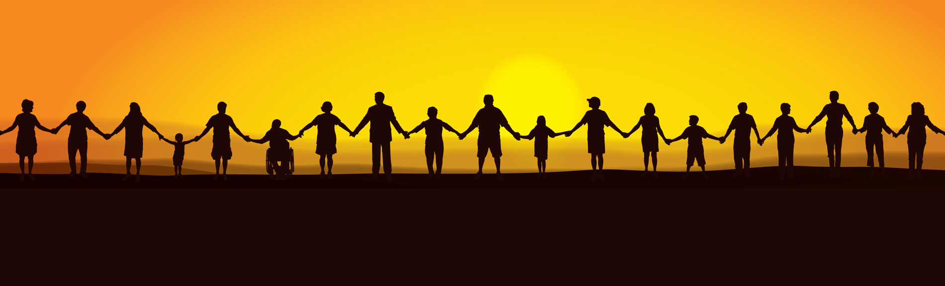 Corporate Social Responsibility Image of People Holding Hands at Sunrise