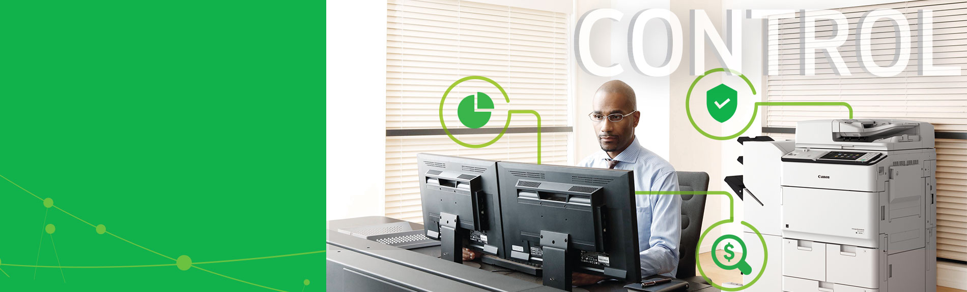 Man at desk with Control text overlay