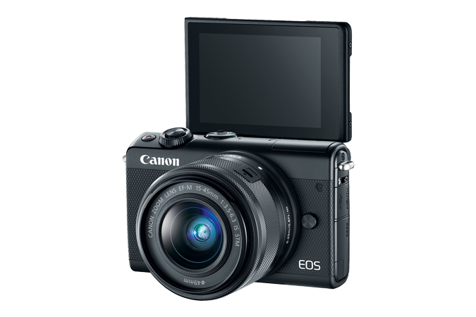 EOS M100 EF-M 15-45mm IS STM Black Lens Kit with Open LCD