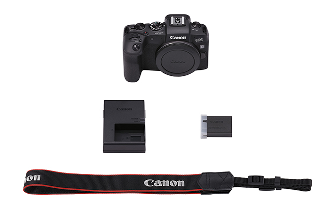 Includes the EOS RP Body, Battery Pack LP-E17, Battery Charger LC-E17, and a Wide Neck Strap