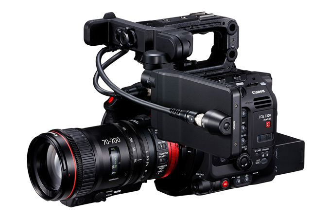 Canon C300 Mark III - Front Side with Cine-Servo 70-200mm and LCD on Side
