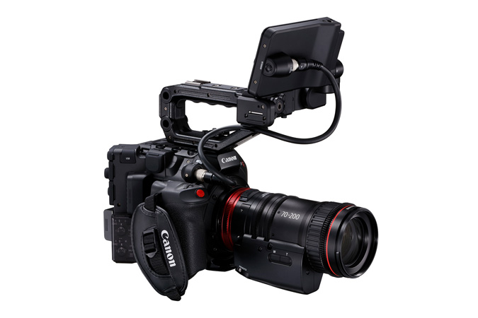 Canon C300 Mark III - Front Side Right with LCD on Top