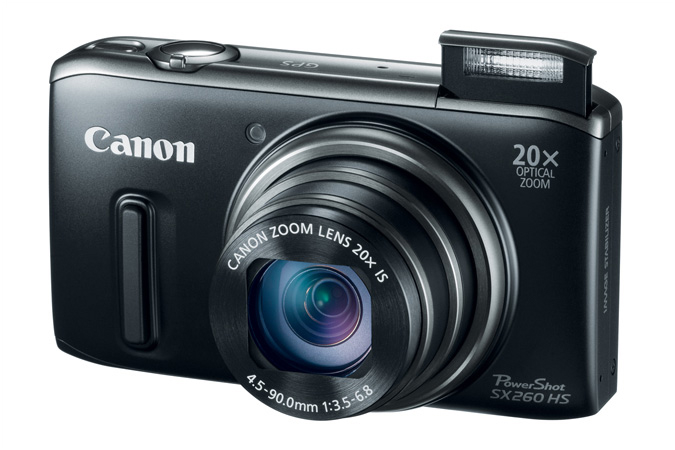 PowerShot SX260 HS digital camera in Black - 3/4 View