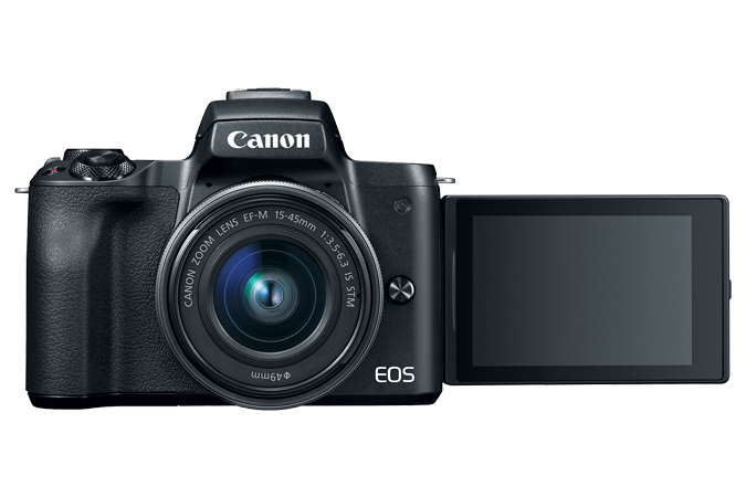 EOS M50 (Black) - Front with lens attached and open LCD