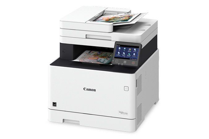 Color imageCLASS MF741Cdw multifunction laser printer - 3/4 angle view with printouts