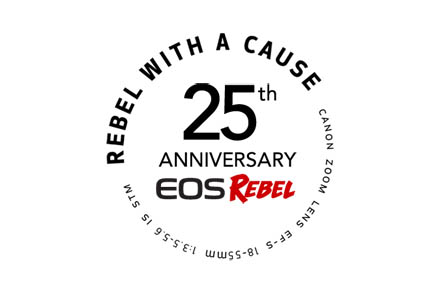Rebel 25th Anniversary Rebel with a Cause Logo