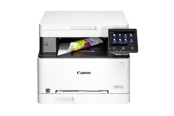 Color imageCLASS MF641Cw multifunction laser printer - front view with printouts