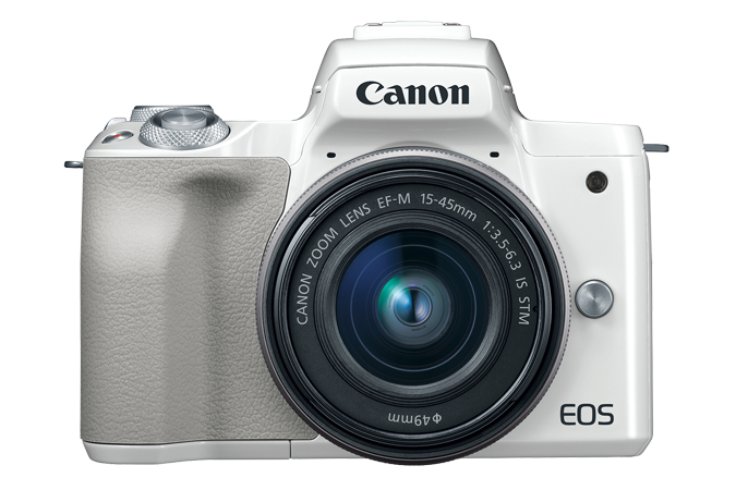 EOS M50 (White) - Front with lens attached