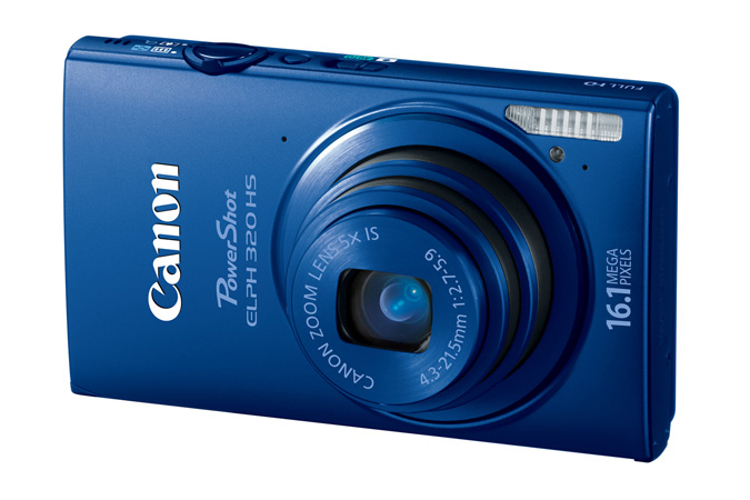 PowerShot ELPH 320 HS digital camera in Blue - 3/4 View