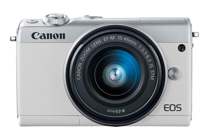 EOS M100 EF-M 15-45mm IS STM White Lens Kit Front