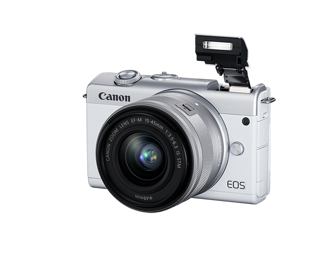 EOS M200 EF-M 15-45mm IS STM Kit - white - 3/4 view flash open