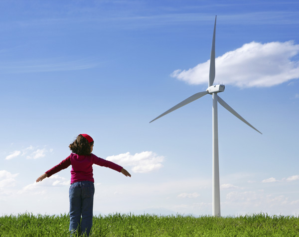 child and windmill