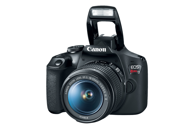 EOS Rebel T7 - Front with open flash