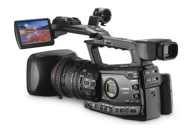 XF305 Professional Camcorder - back left view with LCD