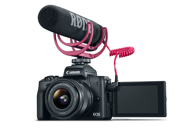 EOS M50 Video Creator Kit - Microphone attached to camera