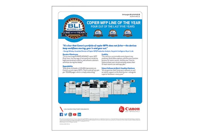 BLI A3 MFP Line of the Year 2020 Flyer